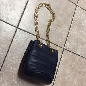 Deux Lux Navy Blue Mini DrawChain Bucket Bag